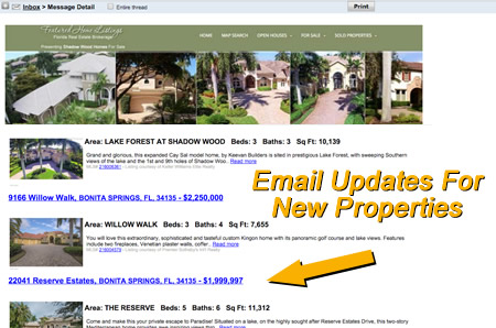 email updates on new community listings or price changes